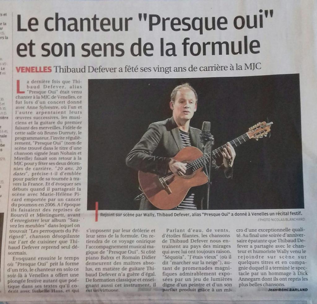 Revue de presse - Article Presque Oui dans La Provence - Janvier 2018