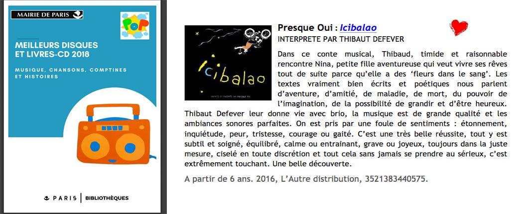 Icibalao - sélection meilleurs albums 2018 - réseau Bibliothèques de Paris